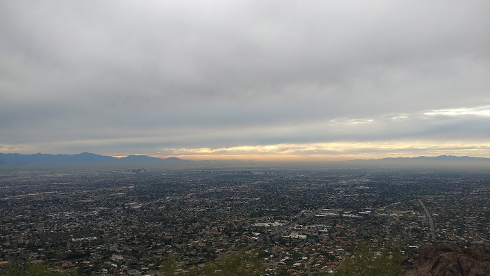An image of Phoenix with storm clouds hanging above it