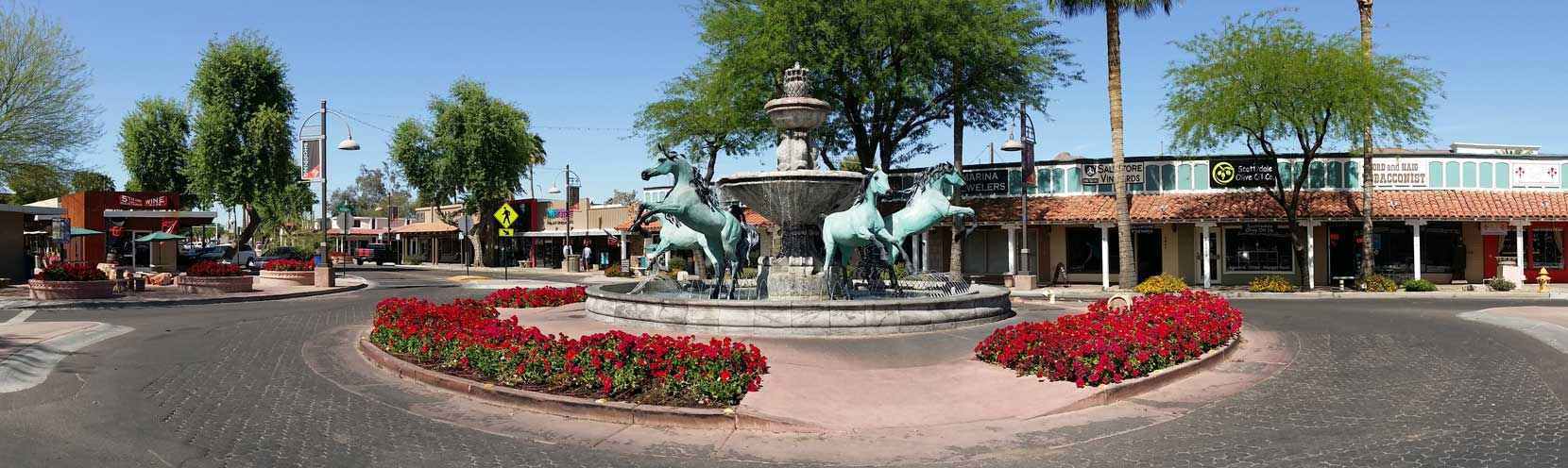 Header image of a fountain in a roundabout in downtown Scottsdale